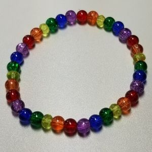 Hand-made glass rainbow stretch bracelet